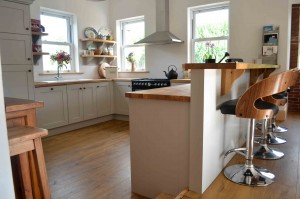Grey hand painted shaker style with solid oak worktop